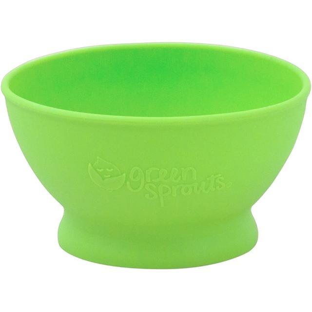 【美國green sprouts】寶寶矽膠防滑學習碗單入組_草綠(GS152300-3)