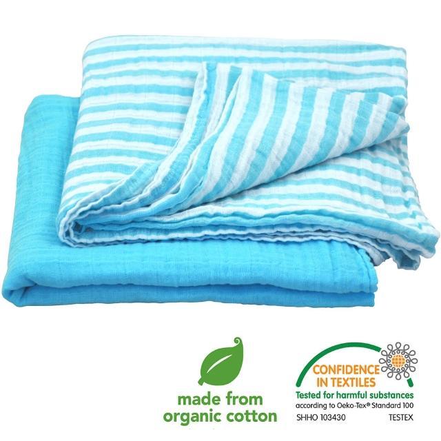 【美國green sprouts】有機棉細紗包巾2入組_水藍組(GS334190-2)