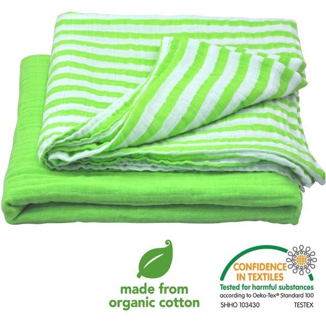 【美國green sprouts】有機棉細紗包巾2入組_草綠組(GS334190-5)