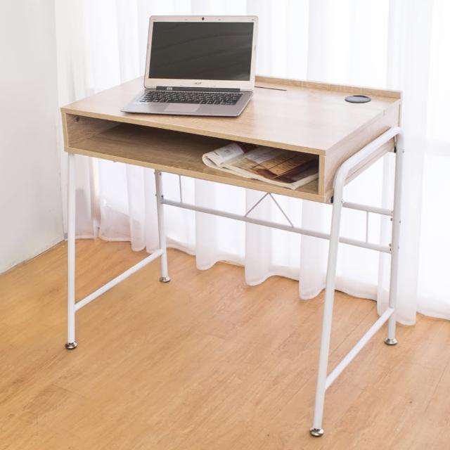 【Bernice】凱爾線孔工作桌-書桌(白橡色-DIY)