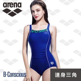 【arena】限量 新款 訓練款 女士 連體三角泳衣 運動塑身 保守遮肚顯瘦(TMS7139WA)  arena