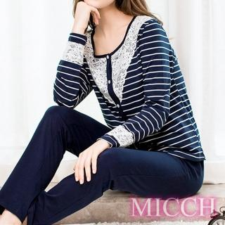 【MICCH】洗練時尚 溫婉蕾絲休閒外套造型長袖居家套組   MICCH