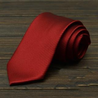 【拉福】斜紋領帶8cm寬版領帶拉鍊領帶(暗紅)  拉福