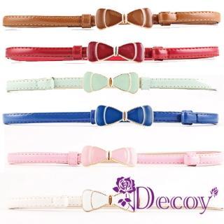 【Decoy】甜美蝴蝶結*亮面馬卡龍伸縮細皮帶/6色可選  Decoy