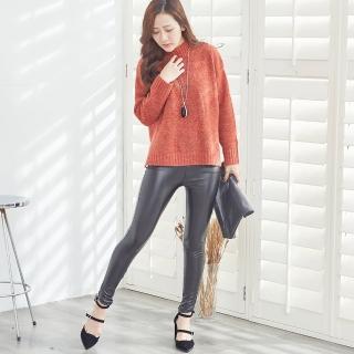 【Wonderland】時尚品味超彈力提臀顯瘦內刷絨仿皮褲   Wonderland