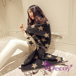 【Decoy】雙色星星*仿羊絨披肩流蘇圍巾/藍灰   Decoy