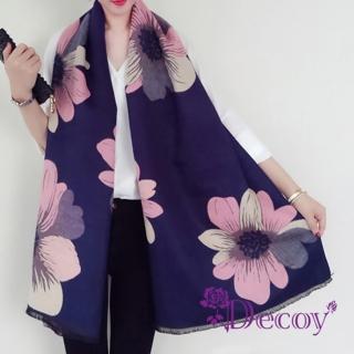 【Decoy】粉嫩向日葵*墨藍加大披肩圍巾  Decoy