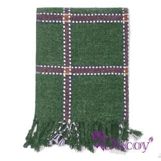 【Decoy】刺繡方格*中性仿羊絨保暖流蘇圍巾/綠  Decoy