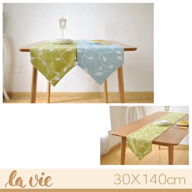 【La Vie】田園風繡花餐桌布桌旗檯布(藍綠兩色)