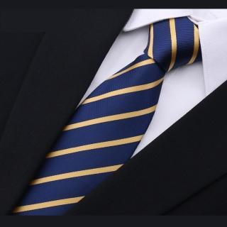 【拉福】領帶6cm中窄版領帶手打領帶(藍黃紋)  拉福