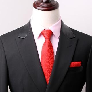 【拉福】拉花領帶8cm寬版領帶手打領帶(大紅)  拉福