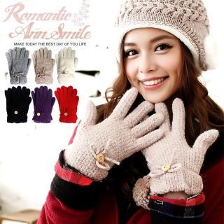 【微笑安安】MIT鈕扣蝴蝶結毛絨內裡毛線手套(共4色)   微笑安安