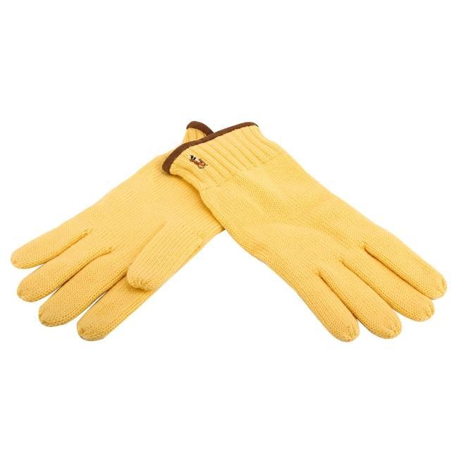 【RALPH LAUREN】經典馬球刺繡LOGO麂皮飾邊羊毛手套(鵝黃色)
