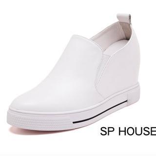 【Sp house】復刻時尚質感全真牛皮內增高鞋(經典白)   Sp house