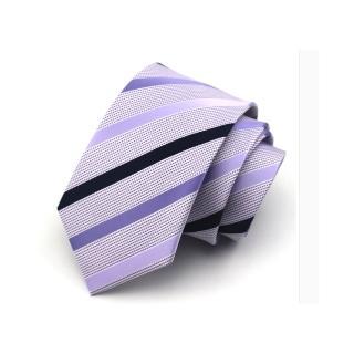 【拉福】淡紫斜領帶7.5cm中寬版領帶拉鍊領帶(紫)  拉福