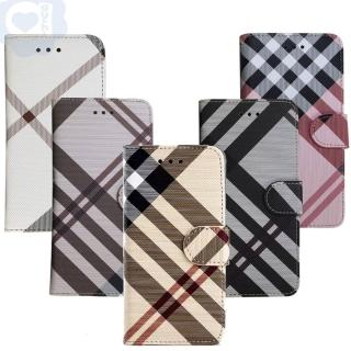 【Apple】iPhone X 英倫格紋氣質手機皮套 側掀磁扣支架式皮套 矽膠軟殼(5色可選)  Apple