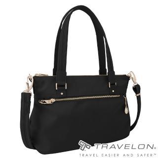 【Travelon】TL-43197-17 黑(小資女都會商務中型側肩包托特包 RFID/防盜鎖/防割鋼網)   Travelon