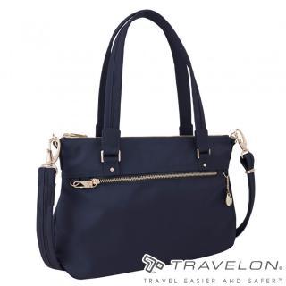 【Travelon】TL-43197-17 寶石藍(小資女都會商務中型側肩包托特包 RFID/防盜鎖/防割鋼網)  Travelon