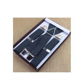 【拉福】吊帶X夾紳士吊帶附紙盒(灰直紋.深藍接近黑)  拉福