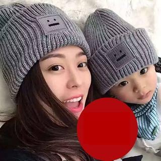 【梨花HaNA】韓國可愛簡單的方塊笑臉毛帽(親子帽)   梨花HaNA
