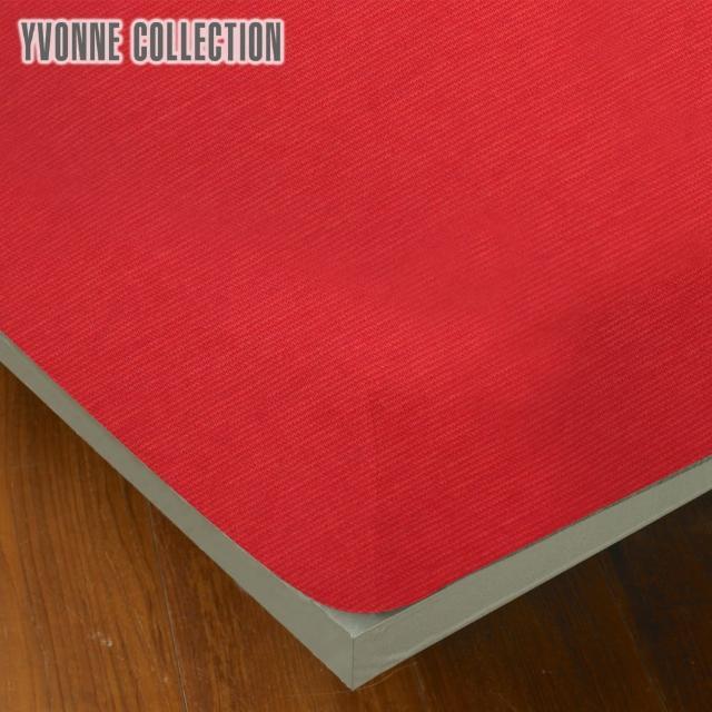 【Yvonne Collection】雙人細條紋純棉床包(橘紅)