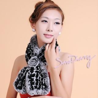 【Saro Diary】秋冬必備保暖 100%獺兔毛皮草編織雙混色圍巾(W555-5色可選)   Saro Diary