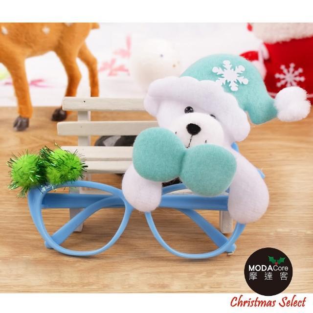 【摩達客】聖誕派對造型眼鏡(藍色白熊)