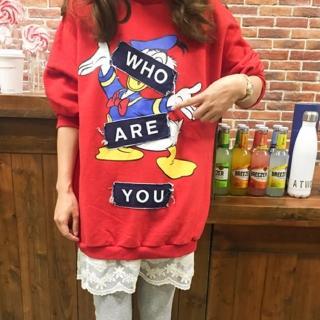 【Jimmy&Wang】韓版 卡通紅色拼接蕾絲假二件洋裝(網)  Jimmy&Wang