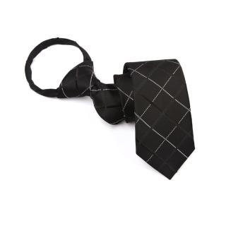 【拉福】領帶窄版領帶6cm領帶拉鍊領帶(黑格)  拉福