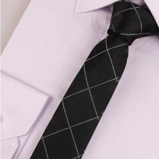 【拉福】領帶窄版領帶6cm領帶手打領帶(黑格)  拉福
