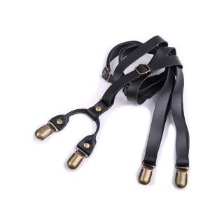 【拉福】四夾1.7cm牛皮背帶西裝吊帶(三色)   拉福