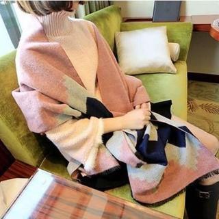【梨花HaNA】韓國仿羊絨撞色圖案波西米亞之夢圍巾   梨花HaNA