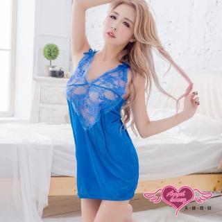 【Angel 天使霓裳】情趣睡衣 纏綿芬芳 半透蕾絲連身睡裙(藍F)  Angel 天使霓裳
