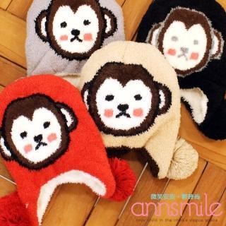 【微笑安安】MIT小猴罩耳超軟絨毛雙層童帽(共4色)  微笑安安