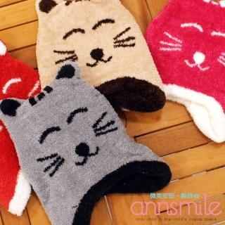 【微笑安安】MIT微笑感小貓罩耳雙層內裡童帽-黑(共6色)  微笑安安