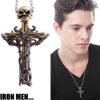 【Iron Men】亞當之秘十字架˙珠寶白鋼項鍊(黑金)   Iron Men
