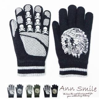 【微笑安安】MIT男款印地安圖騰燙片織紋針織手套(共4色)   微笑安安