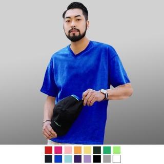 【男人幫】F0181*加厚不變型 - 韓國版型100%純棉高磅數厚款 - 素色V領T恤 - 台灣製(F0181)  男人幫