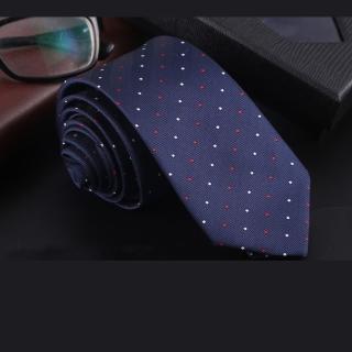 【拉福】領帶中窄版領帶6cm領帶拉鍊領帶(紅白點)  拉福