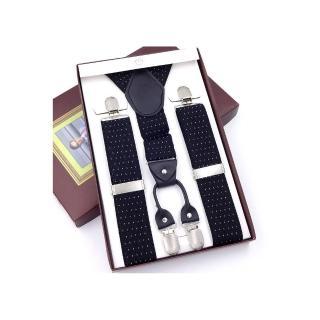 【拉福】吊帶四夾紳士吊帶附紙盒(黑底白點)   拉福