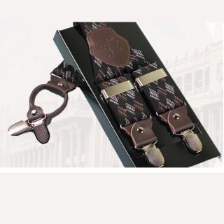 【拉福】吊帶四夾紳士吊帶附紙盒(咖啡紋)  拉福