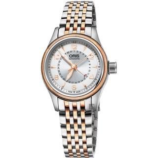 【ORIS 豪利時】Big Crown 大表冠指針式日期女錶-銀x雙色版/29mm(0159476804361-0781432)  ORIS 豪利時