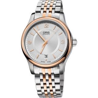 【ORIS 豪利時】Classic Date 經典都會時尚機械錶-銀x玫瑰金框/37mm(0173375784331-0781863)   ORIS 豪利時