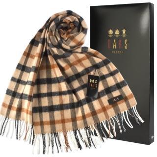 【DAKS】雙面經典格紋羊毛寬版披肩圍巾禮盒(卡其色)   DAKS