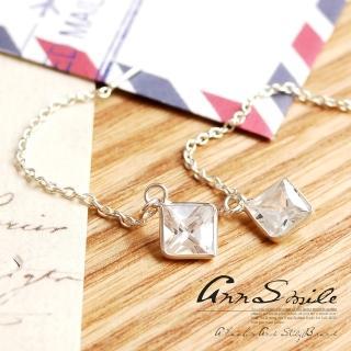 【微笑安安】小方晶925純銀細鍊針式耳環  微笑安安