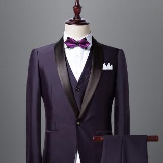 【拉福】高檔尖角領結新郎結婚領結糾糾(深紫色)  拉福