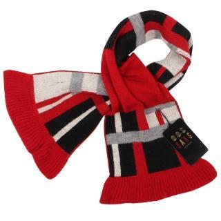 【DAKS】幾何針織羊毛荷葉邊圍脖(紅色)   DAKS
