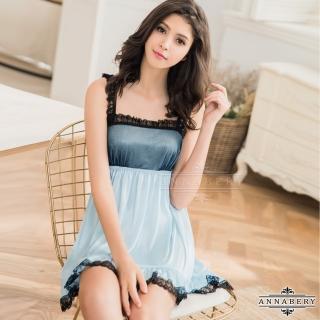 【Annabery】大尺碼柔緞藍黑蕾絲滾邊平口洋裝式睡衣  Annabery