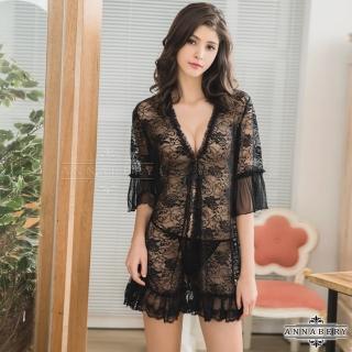 【Annabery】大尺碼魅惑黑色透視柔紗罩衫丁字褲二件組   Annabery