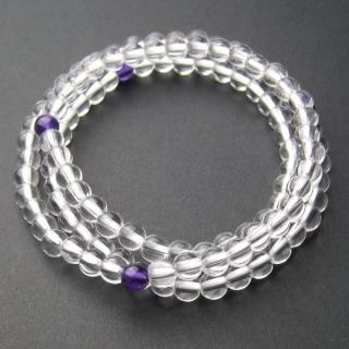 【開運工場】5mm白水晶紫晶108顆念珠項鍊(具彈性伸縮)   開運工場